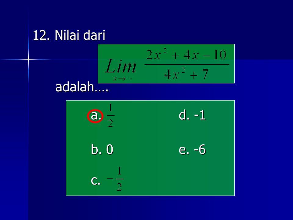 12. Nilai dari adalah…. a. d. -1 b. 0 e. -6 c.