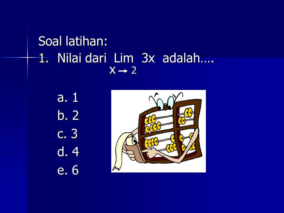 Soal latihan: Nilai dari Lim 3x adalah…. x 2 a. 1 b. 2 c. 3 d. 4 e. 6