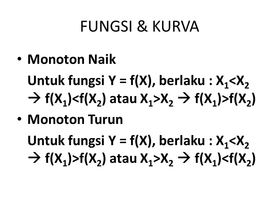 FUNGSI & KURVA Monoton Naik