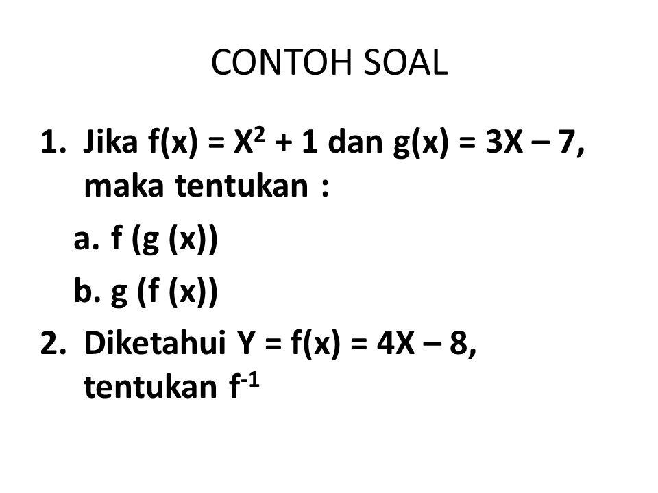 CONTOH SOAL Jika f(x) = X2 + 1 dan g(x) = 3X – 7, maka tentukan :