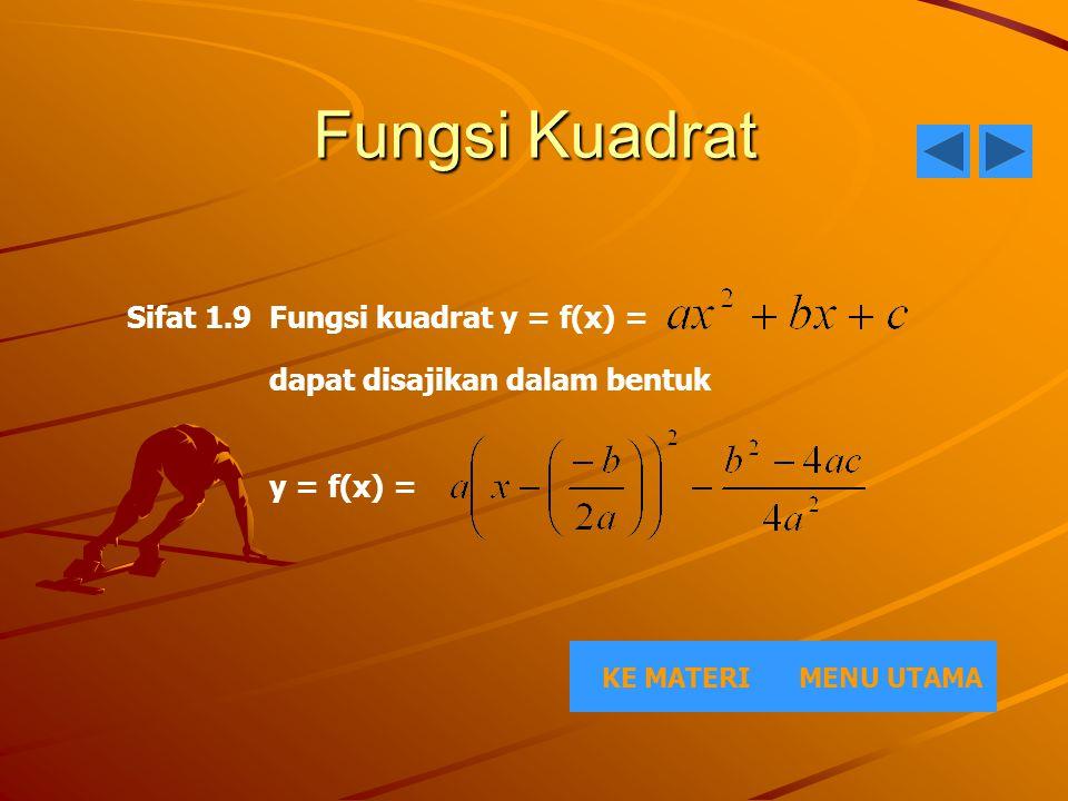 Fungsi Kuadrat Sifat 1.9 Fungsi kuadrat y = f(x) =