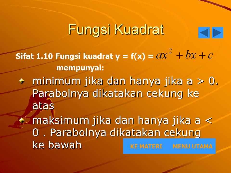 Fungsi Kuadrat Sifat 1.10 Fungsi kuadrat y = f(x) = mempunyai: minimum jika dan hanya jika a > 0. Parabolnya dikatakan cekung ke atas.