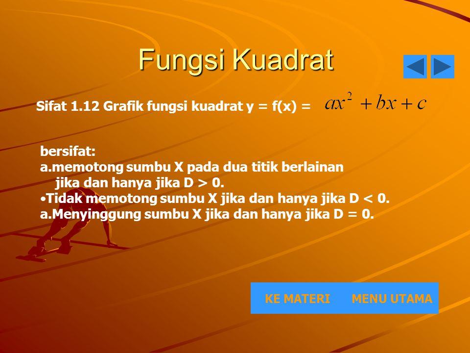 Fungsi Kuadrat Sifat 1.12 Grafik fungsi kuadrat y = f(x) = bersifat: