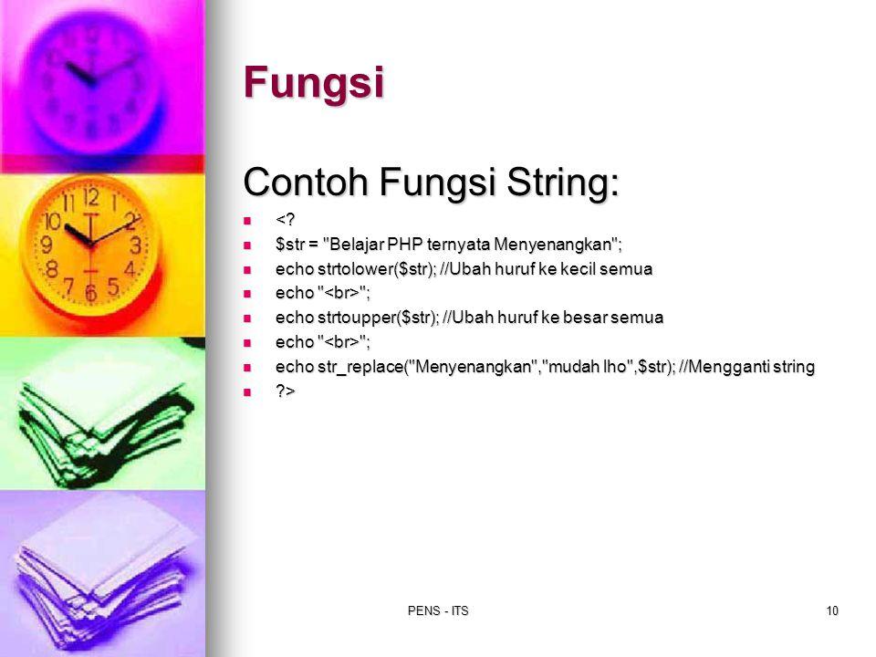 Fungsi Contoh Fungsi String: <