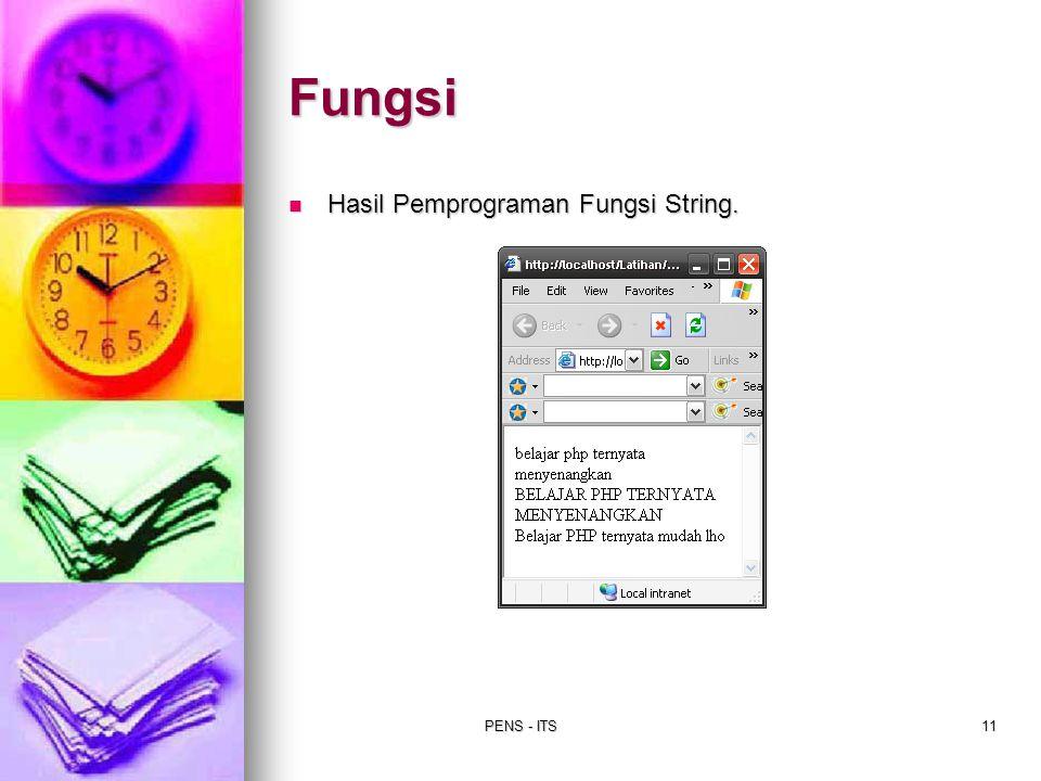 Fungsi Hasil Pemprograman Fungsi String. PENS - ITS