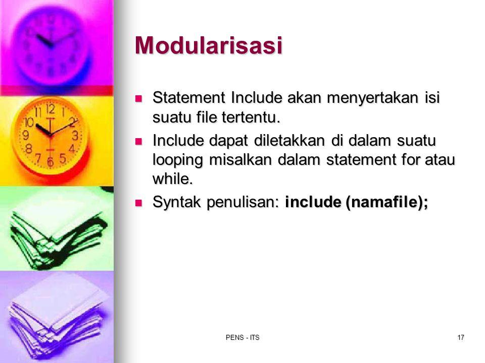 Modularisasi Statement Include akan menyertakan isi suatu file tertentu.