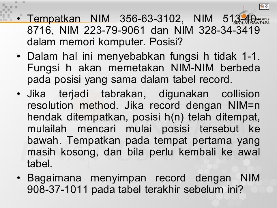 Tempatkan NIM 356-63-3102, NIM 513-40-8716, NIM 223-79-9061 dan NIM 328-34-3419 dalam memori komputer. Posisi