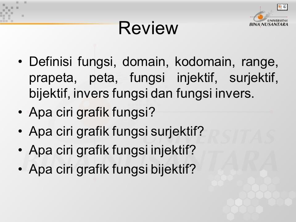 Review Definisi fungsi, domain, kodomain, range, prapeta, peta, fungsi injektif, surjektif, bijektif, invers fungsi dan fungsi invers.