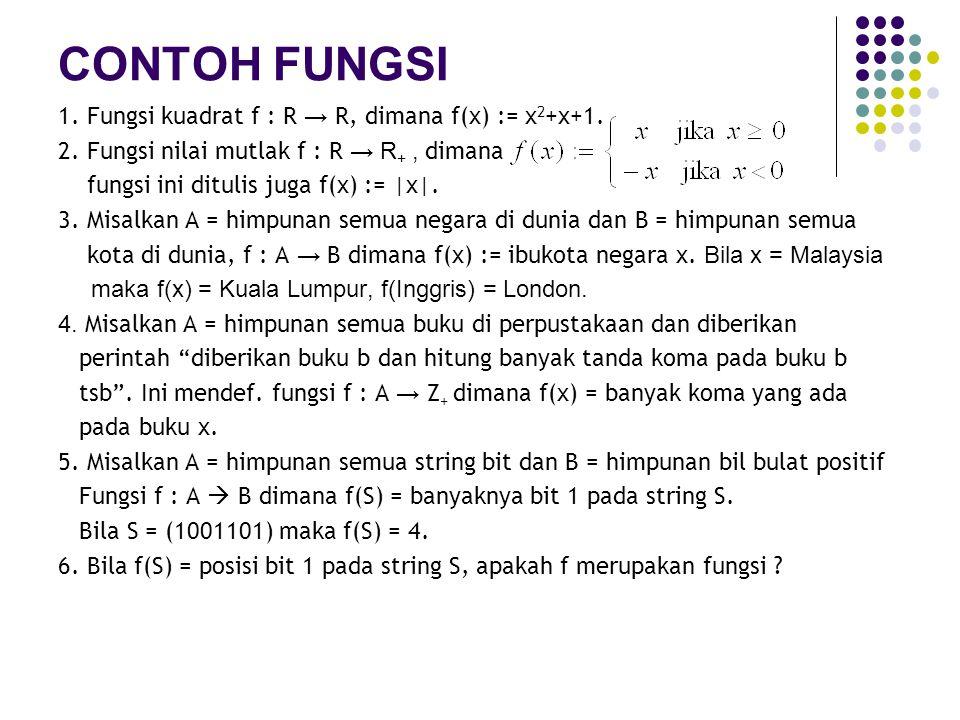CONTOH FUNGSI 1. Fungsi kuadrat f : R → R, dimana f(x) := x2+x+1.