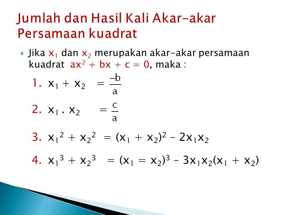 Jumlah dan Hasil Kali Akar-akar Persamaan kuadrat