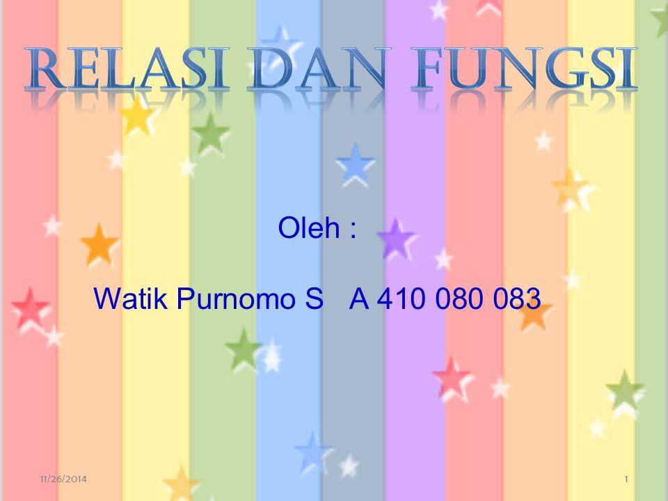 RELASI DAN FUNGSI Oleh : Watik Purnomo S A 410 080 083 4/7/2017