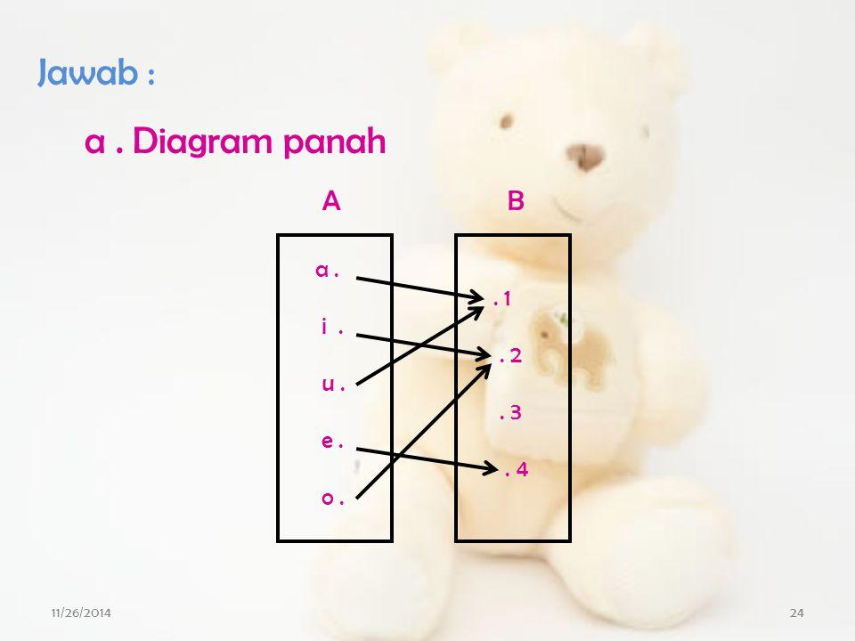 Jawab : a . Diagram panah A B a . i . u . e . o . . 1 . 2 . 3 . 4