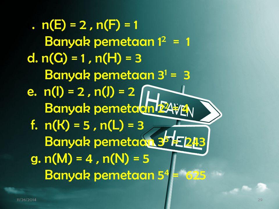 Banyak pemetaan 12 = 1 d. n(G) = 1 , n(H) = 3 Banyak pemetaan 31 = 3