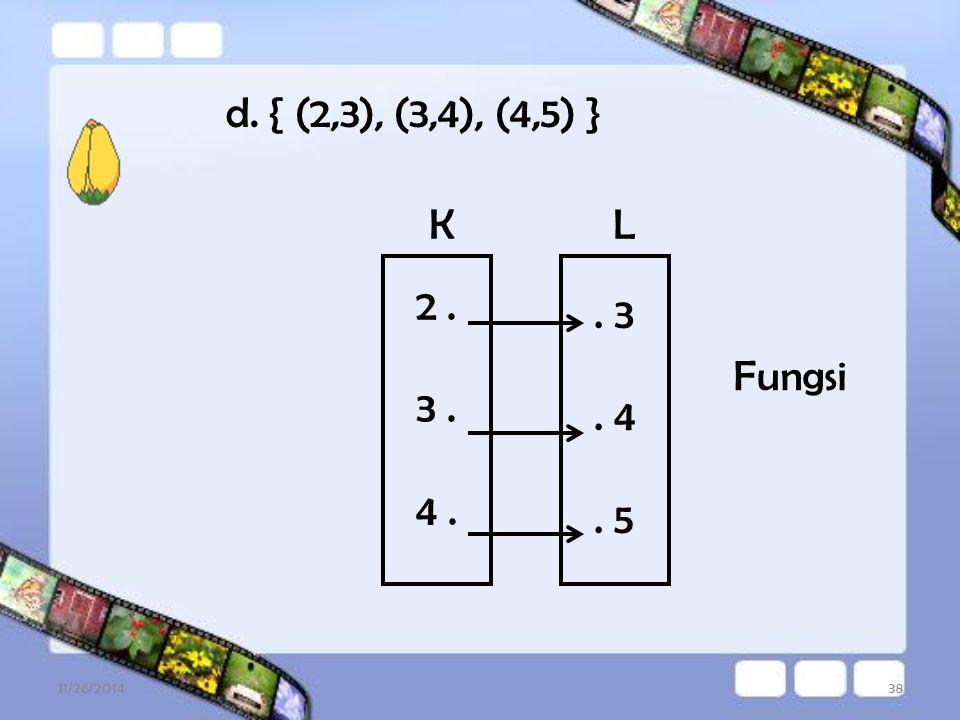 d. { (2,3), (3,4), (4,5) } K L 2 . 3 . 4 . . 3 . 4 . 5 Fungsi 4/7/2017