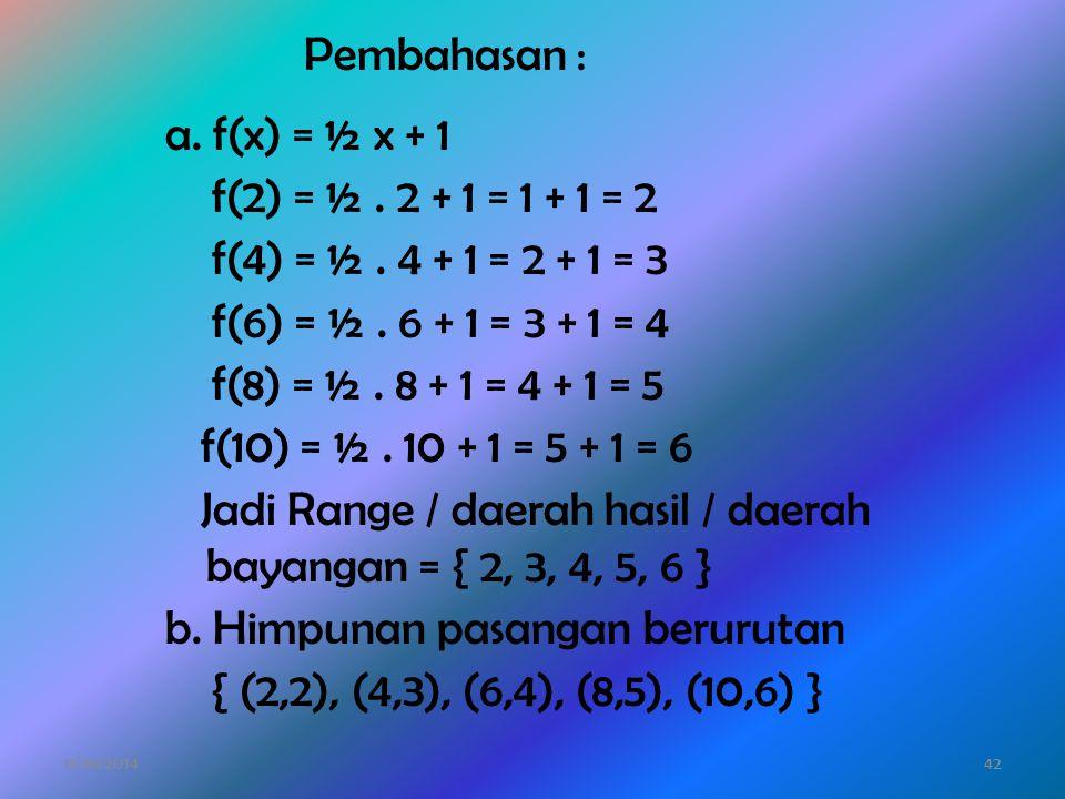 Jadi Range / daerah hasil / daerah bayangan = { 2, 3, 4, 5, 6 }