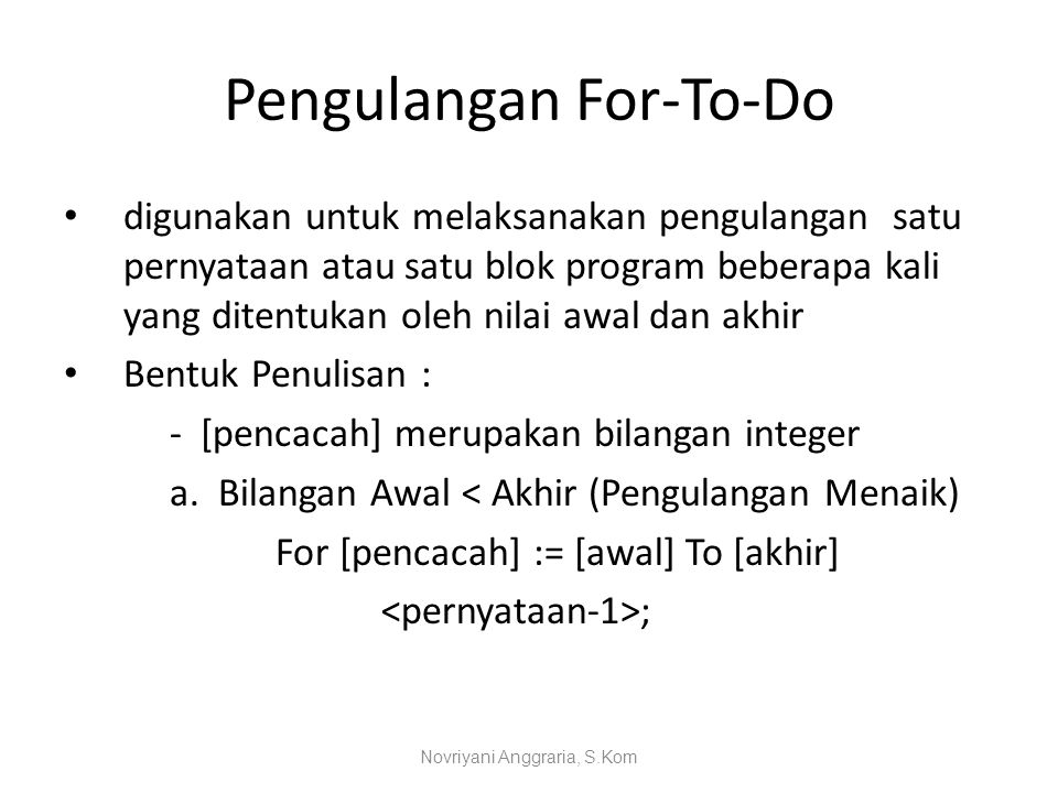Pengulangan For-To-Do