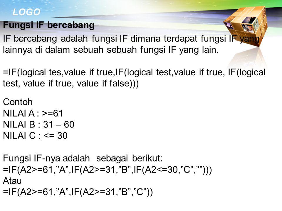 Fungsi IF bercabang IF bercabang adalah fungsi IF dimana terdapat fungsi IF yang lainnya di dalam sebuah sebuah fungsi IF yang lain.