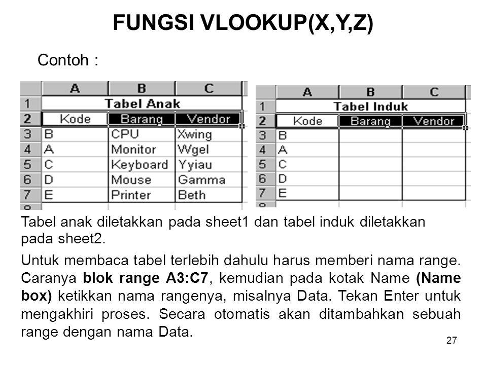 FUNGSI VLOOKUP(X,Y,Z) Contoh :