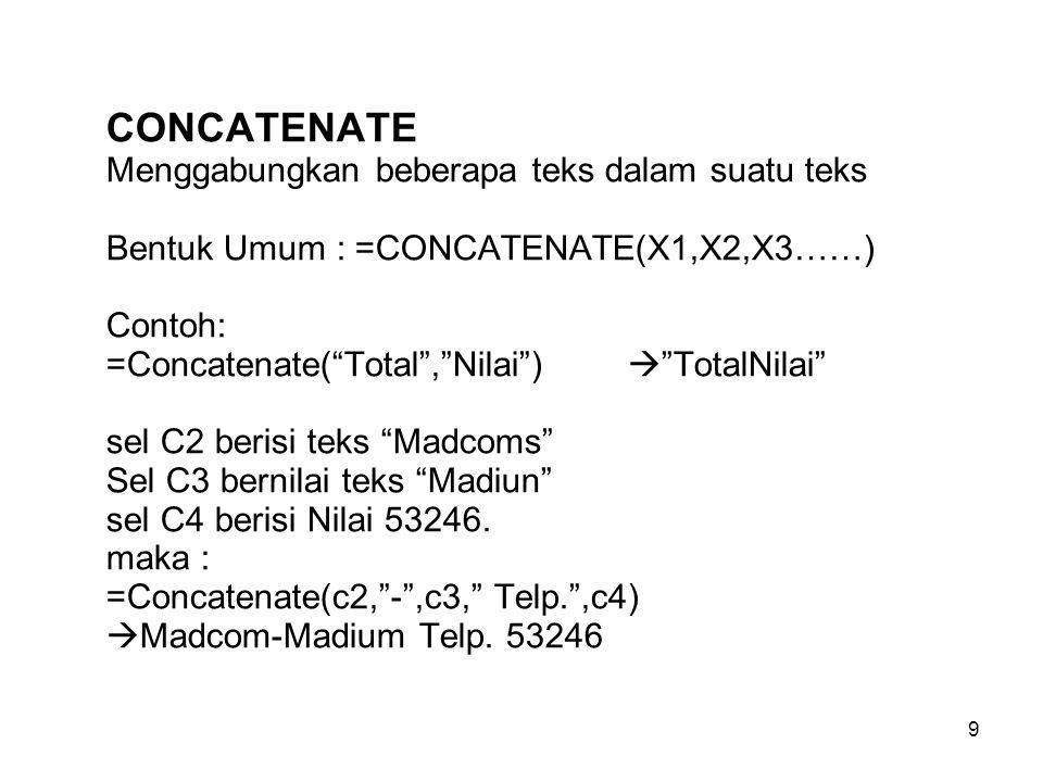 CONCATENATE Menggabungkan beberapa teks dalam suatu teks Bentuk Umum : =CONCATENATE(X1,X2,X3……) Contoh: =Concatenate( Total , Nilai )  TotalNilai sel C2 berisi teks Madcoms Sel C3 bernilai teks Madiun sel C4 berisi Nilai 53246.