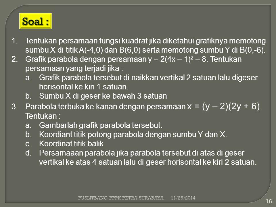 Soal : Tentukan persamaan fungsi kuadrat jika diketahui grafiknya memotong sumbu X di titik A(-4,0) dan B(6,0) serta memotong sumbu Y di B(0,-6).