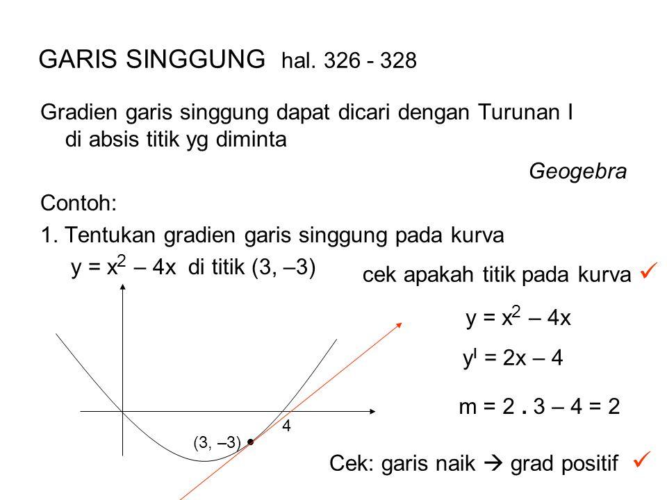 GARIS SINGGUNG hal. 326 - 328 Gradien garis singgung dapat dicari dengan Turunan I di absis titik yg diminta.