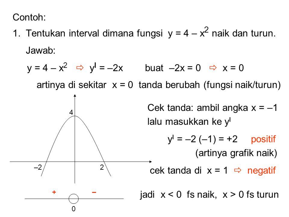 1. Tentukan interval dimana fungsi y = 4 – x2 naik dan turun. Jawab: