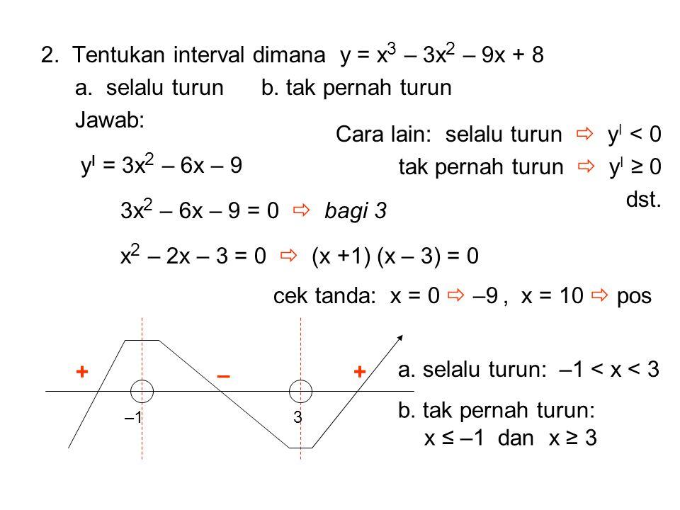 Cara lain: selalu turun  yI < 0 tak pernah turun  yI ≥ 0 dst.