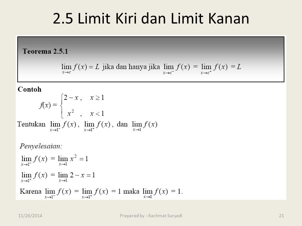 2.5 Limit Kiri dan Limit Kanan
