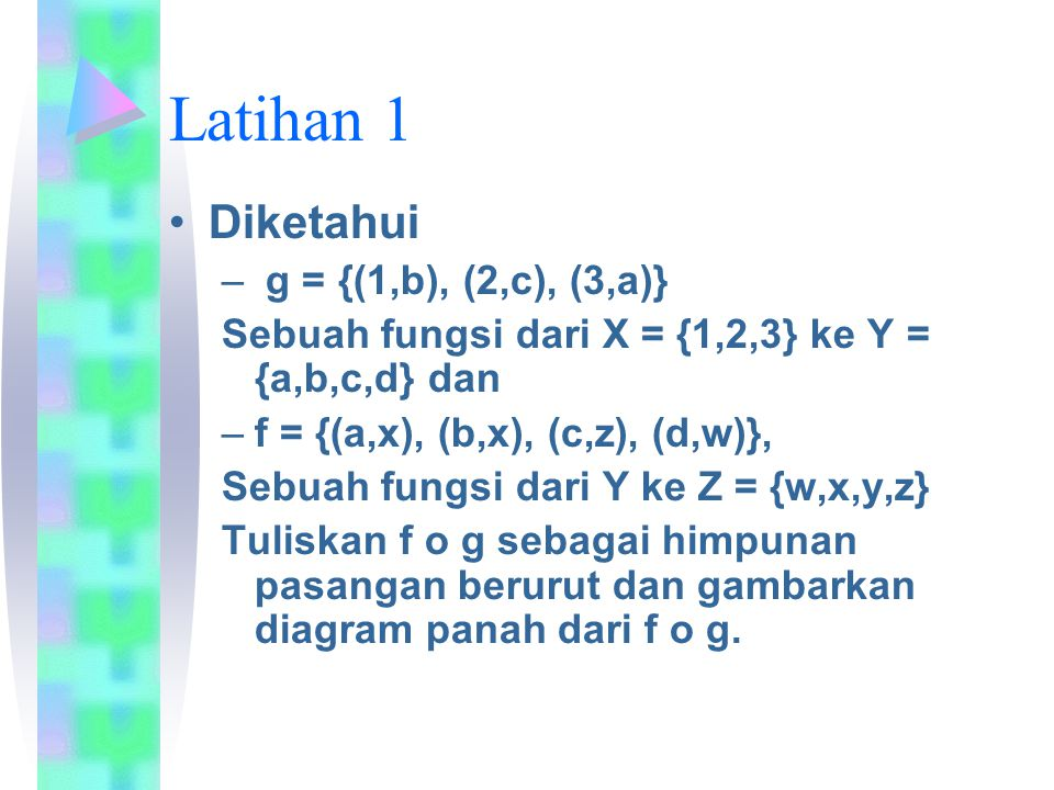 Latihan 1 Diketahui g = {(1,b), (2,c), (3,a)}