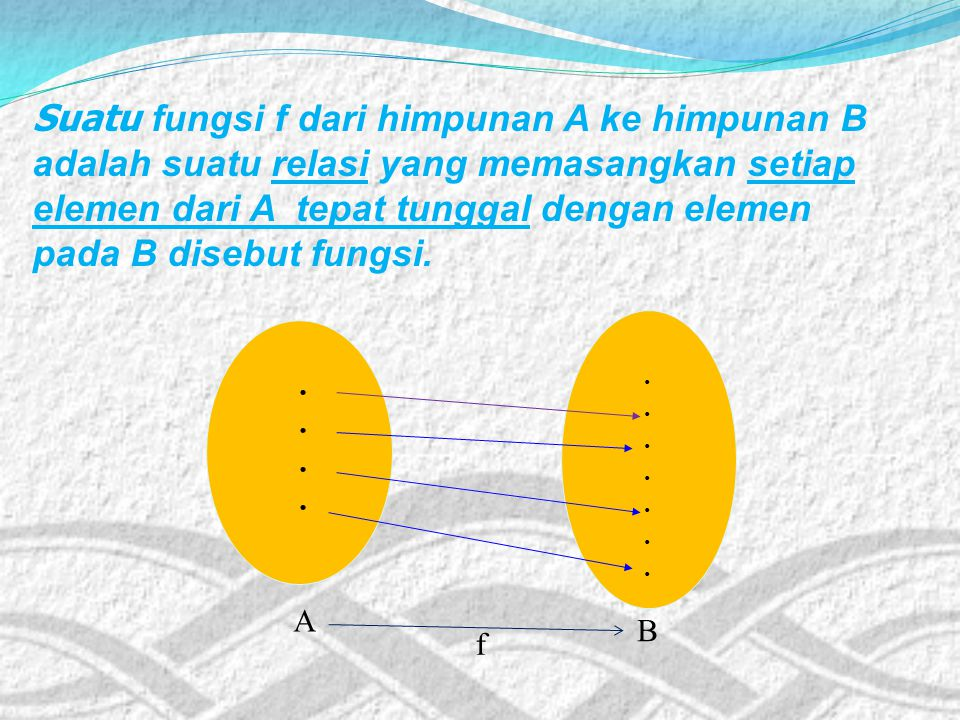 Suatu fungsi f dari himpunan A ke himpunan B adalah suatu relasi yang memasangkan setiap elemen dari A tepat tunggal dengan elemen pada B disebut fungsi.