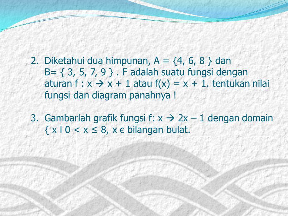 2. Diketahui dua himpunan, A = {4, 6, 8 } dan. B= { 3, 5, 7, 9 }