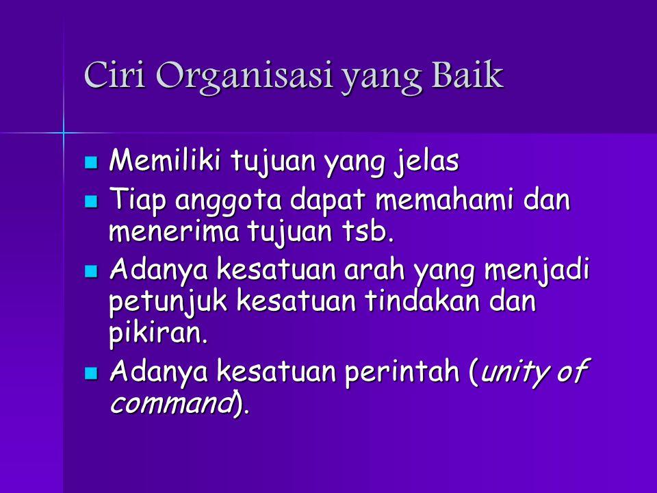 Ciri Organisasi yang Baik