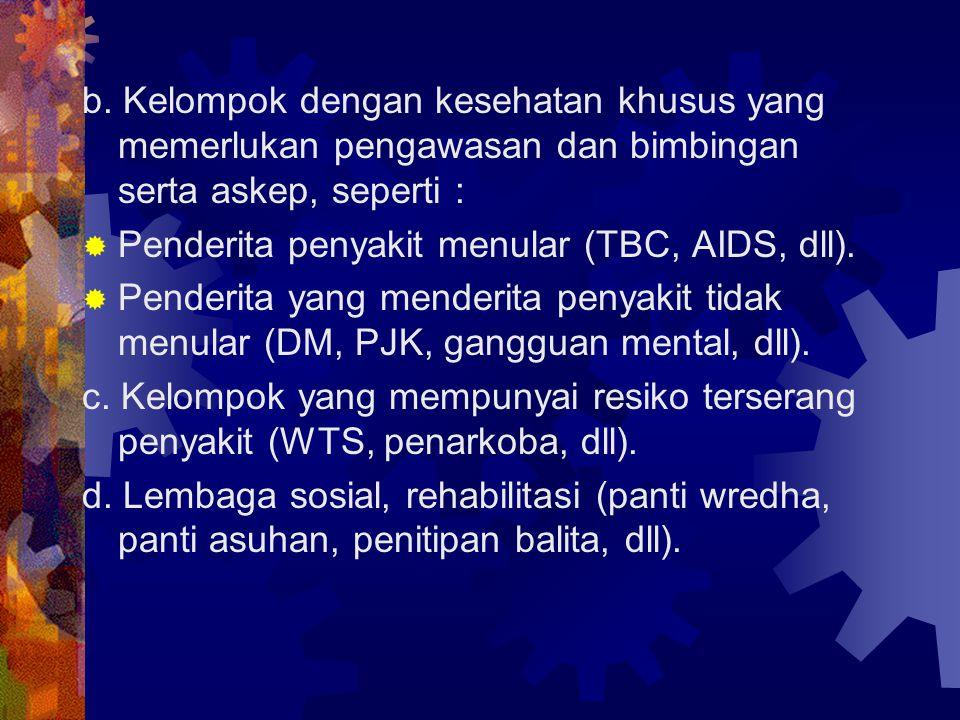 b. Kelompok dengan kesehatan khusus yang memerlukan pengawasan dan bimbingan serta askep, seperti :