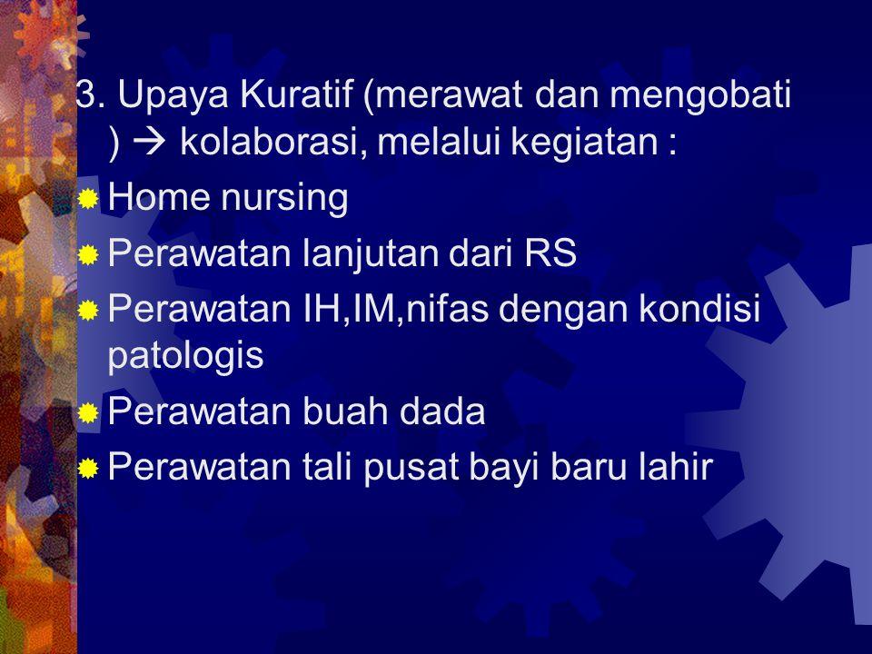 3. Upaya Kuratif (merawat dan mengobati )  kolaborasi, melalui kegiatan :