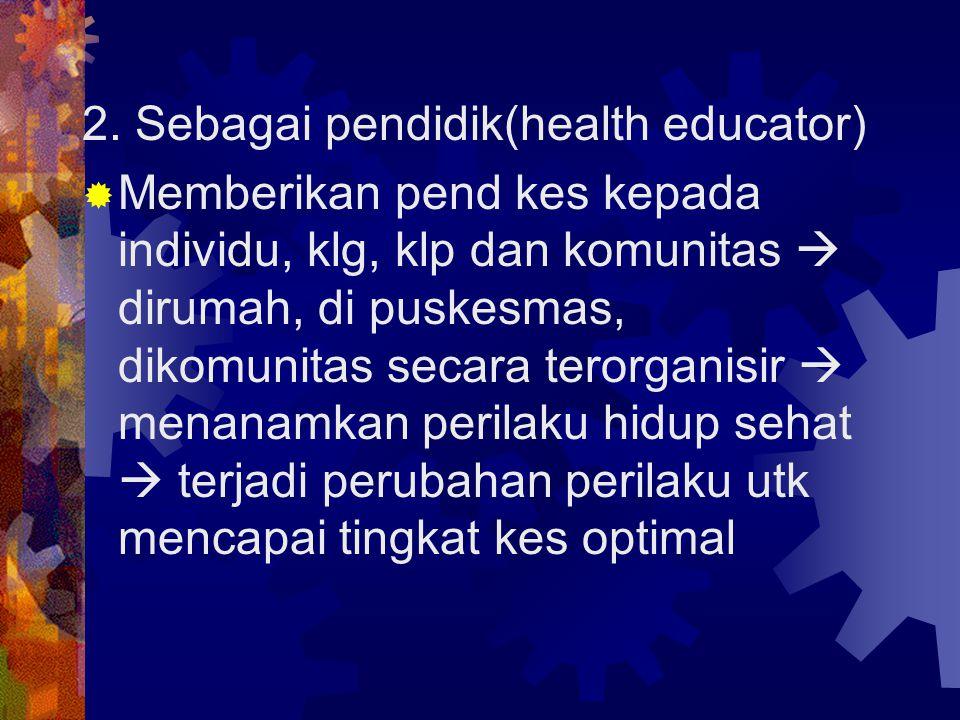 2. Sebagai pendidik(health educator)