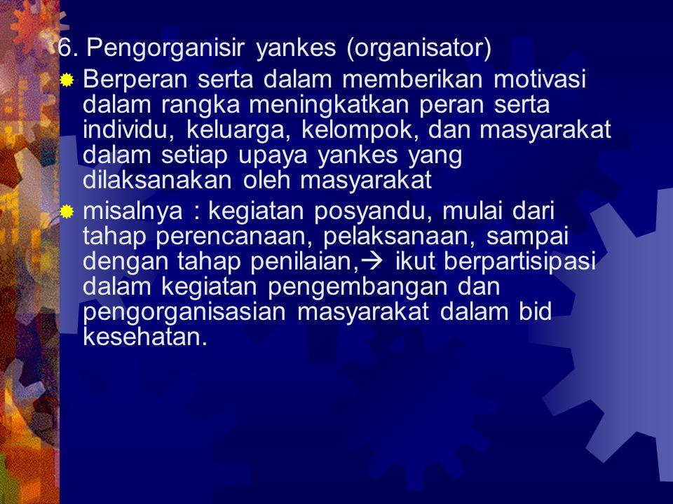 6. Pengorganisir yankes (organisator)