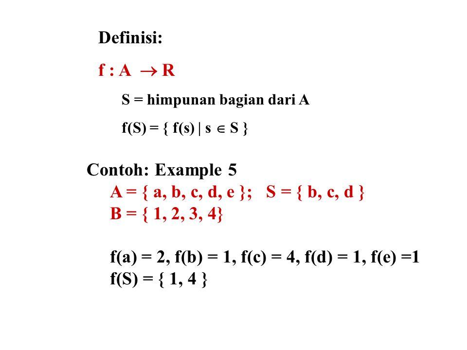 f(a) = 2, f(b) = 1, f(c) = 4, f(d) = 1, f(e) =1 f(S) = { 1, 4 }