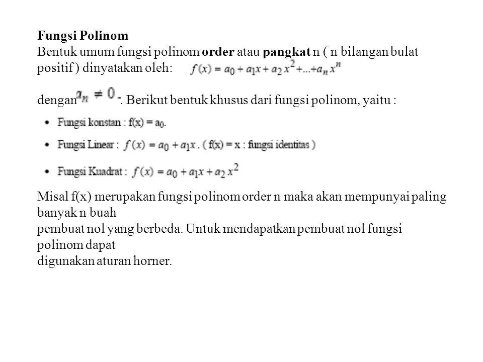 dengan . Berikut bentuk khusus dari fungsi polinom, yaitu :