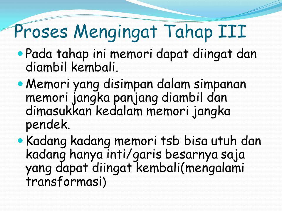 Proses Mengingat Tahap III