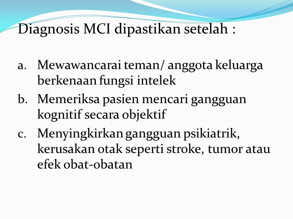 Diagnosis MCI dipastikan setelah :