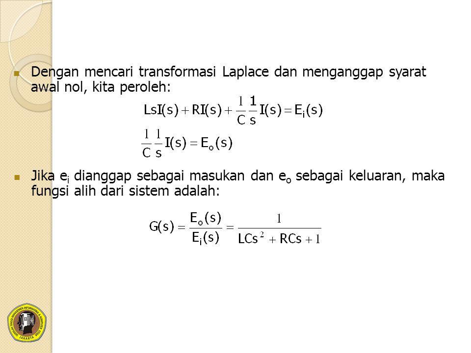 Dengan mencari transformasi Laplace dan menganggap syarat awal nol, kita peroleh:
