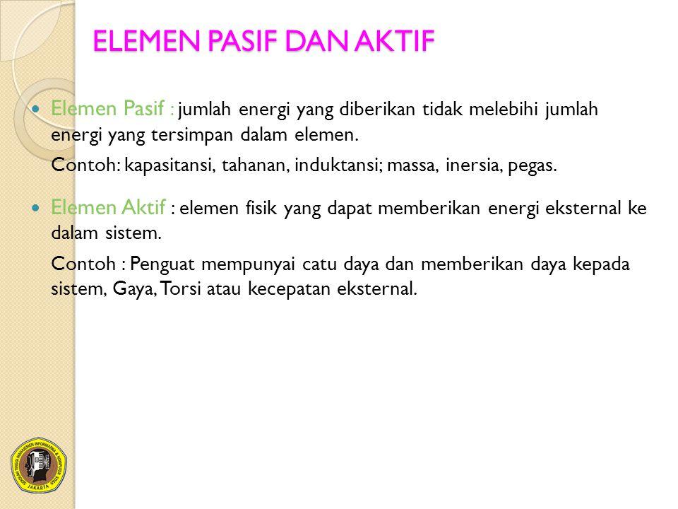 ELEMEN PASIF DAN AKTIF Elemen Pasif : jumlah energi yang diberikan tidak melebihi jumlah energi yang tersimpan dalam elemen.