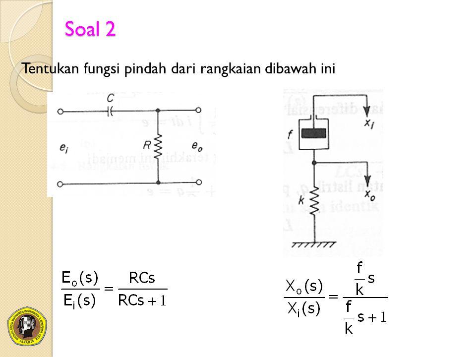 Soal 2 Tentukan fungsi pindah dari rangkaian dibawah ini