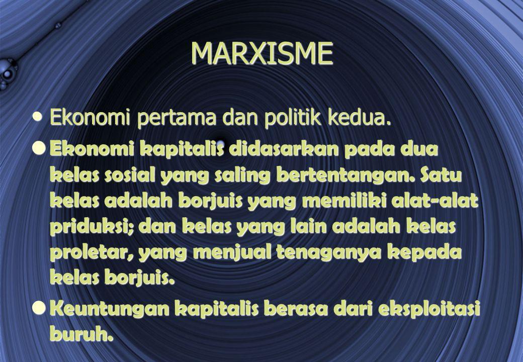 MARXISME Ekonomi pertama dan politik kedua.