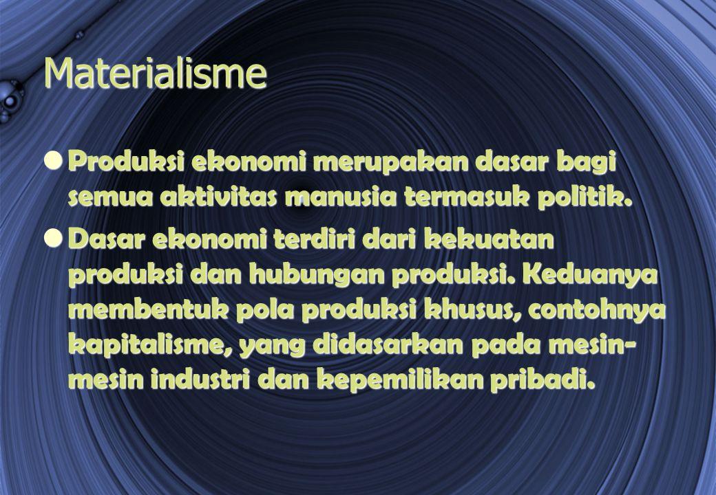 Materialisme Produksi ekonomi merupakan dasar bagi semua aktivitas manusia termasuk politik.