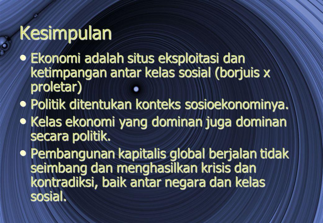 Kesimpulan Ekonomi adalah situs eksploitasi dan ketimpangan antar kelas sosial (borjuis x proletar)