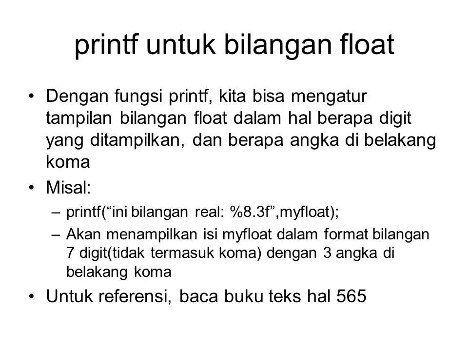 printf untuk bilangan float