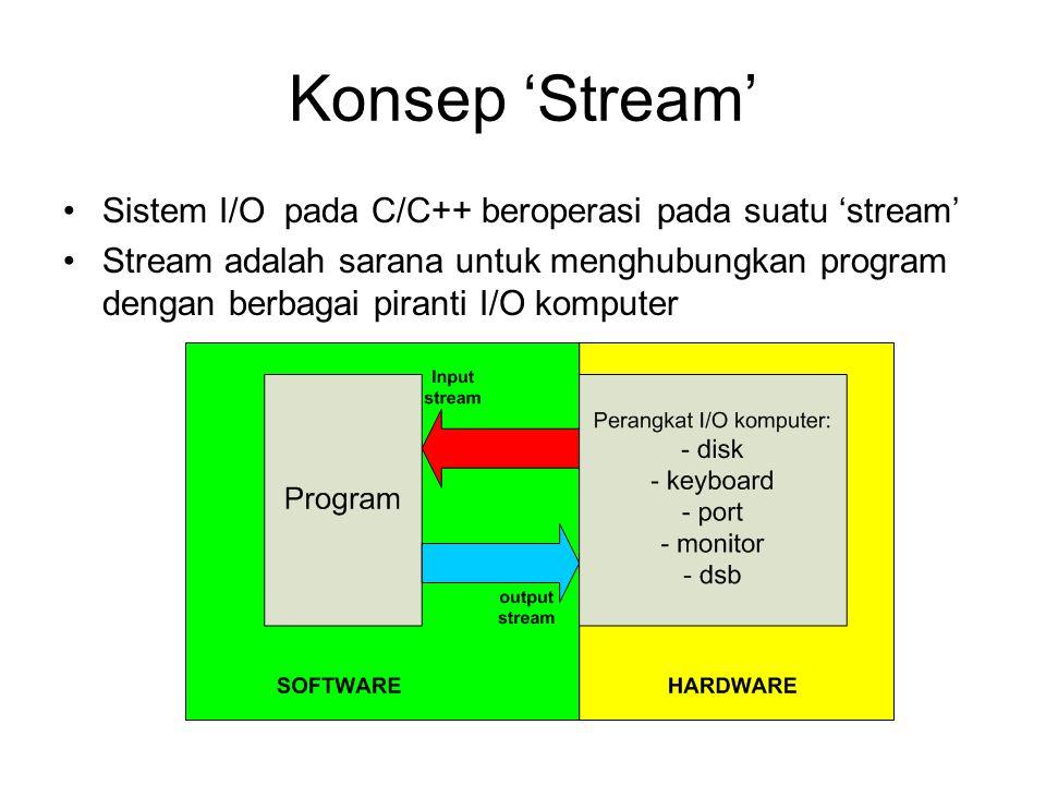 Konsep 'Stream' Sistem I/O pada C/C++ beroperasi pada suatu 'stream'