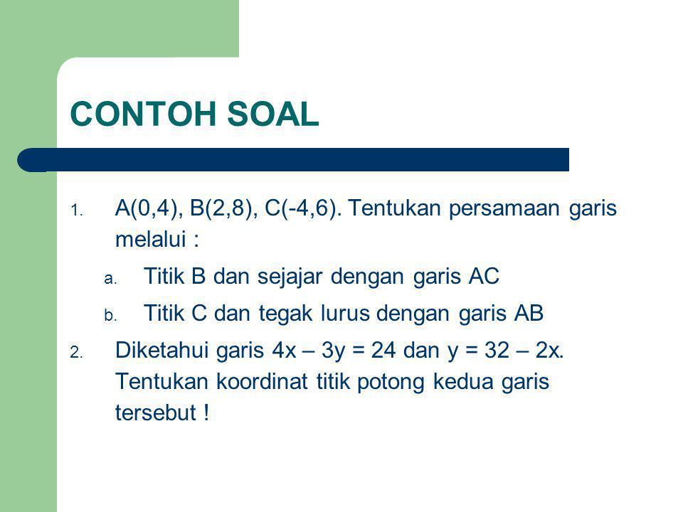 CONTOH SOAL A(0,4), B(2,8), C(-4,6). Tentukan persamaan garis melalui : Titik B dan sejajar dengan garis AC.