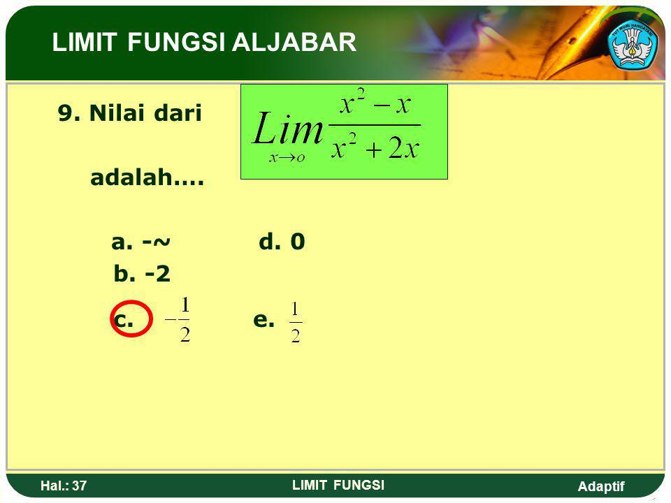 LIMIT FUNGSI ALJABAR 9. Nilai dari adalah…. a. -~ d. 0 b. -2 c. e.